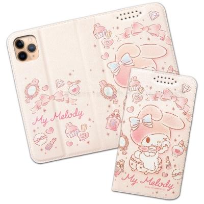 三麗鷗授權 iPhone 11 Pro Max 6.5吋 粉嫩系列彩繪磁力皮套(粉撲)