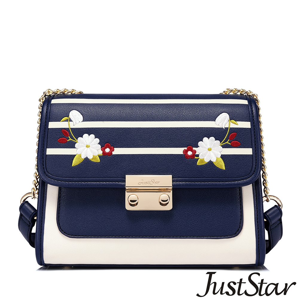 Just Star 潔西卡時尚鍊帶鎖釦包 條紋藍