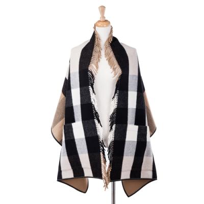 BURBERRY 新款經典格纹羊毛混纺緹花皮革邊口袋披肩/斗篷 (駝色180X60CM)