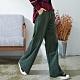 慢 生活 寬版直條壓紋闊腿褲- 深綠