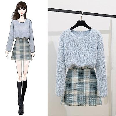 DABI 韓系簡約毛衣針織衫格子半身裙套裝長袖裙裝