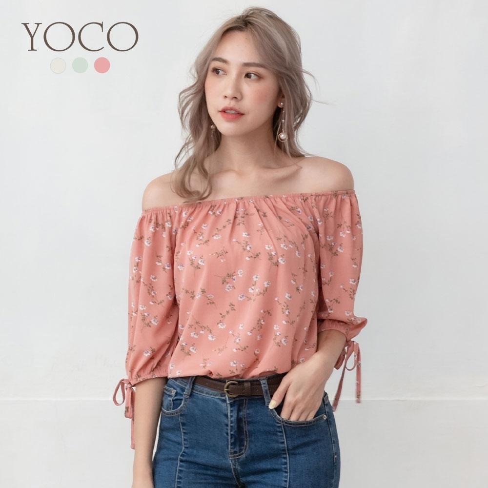 東京著衣-YOCO 浪漫雅緻鬆緊領一字領/圓領上衣-S.M.L(共三色)