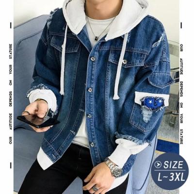 NEW VISION 韓系假兩件潮流牛仔外套-2色