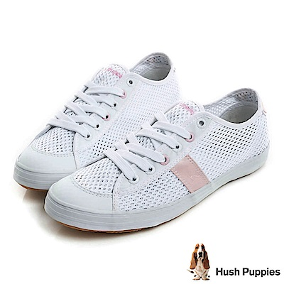 Hush Puppies 透氣網布咖啡紗休閒鞋-粉紅