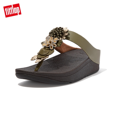 FitFlop FINO FLORAL CLUSTER TOE POST SANDALS 立體花飾夾腳涼鞋-女(橄欖綠)