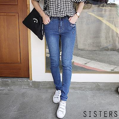 星星刺繡SKINNY鬆緊腰窄管牛仔褲(S-3L)-SISTERS