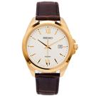 SEIKO 文青風格的皮革錶帶手錶(SUR284P1)-銀面X金色框/42mm