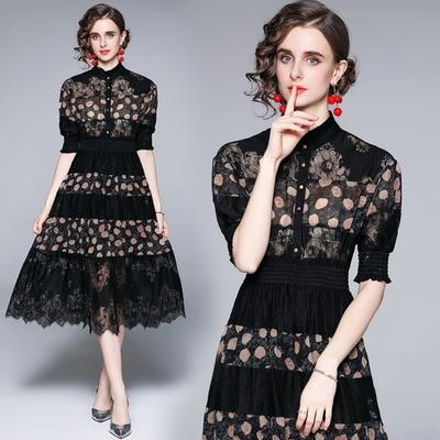 輕熟黑時尚印花立領鬆緊腰蕾絲花邊裙洋裝S-2XL-M2M