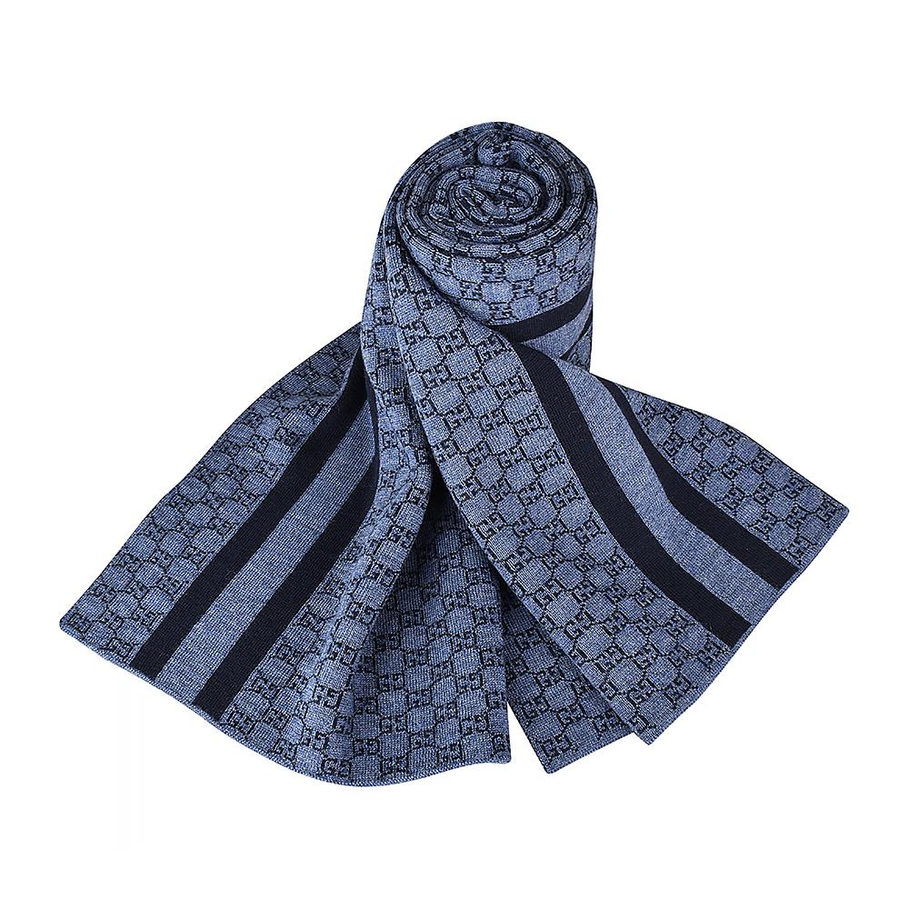 GUCCI經典GG緹花LOGO條紋設計羊毛圍巾(灰藍)GUCCI