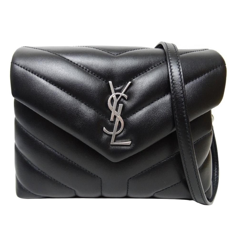 YSL SAINT LAURENT LOULOU 銀字絎縫斜背包(黑色/小)