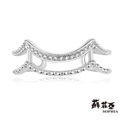 SOPHIA 蘇菲亞珠寶 - Romantic系列 鑽石波浪 9K白K金 鑽石戒指