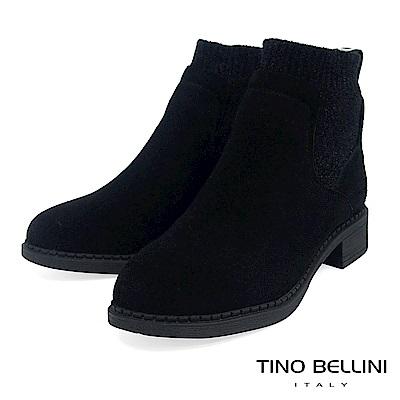 Tino Bellini 低調個性毛呢拼接低跟短靴 _ 黑