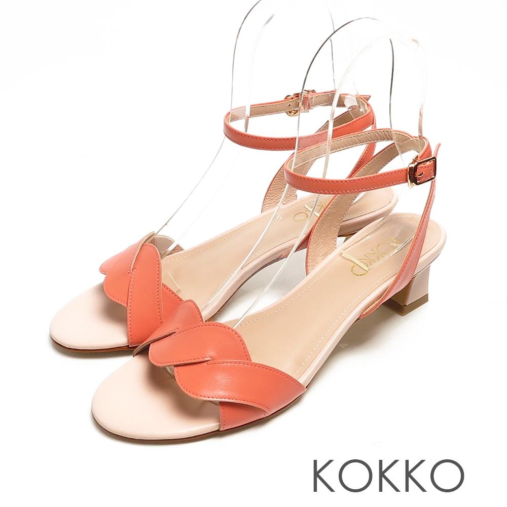 KOKKO優雅羊皮麻花小貓跟踝帶涼鞋精品橘