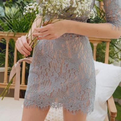 AIR SPACE 浪漫風蕾絲窄短裙(藍灰)