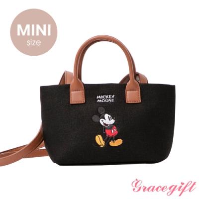 Disney collection by grace gift–唐葳設計迪士尼米奇2WAY帆布包Mini 黑