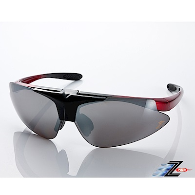 【Z-POLS】MIT頂級可掀設計黑紅搭配帥氣水銀黑防爆片頂級運動眼鏡