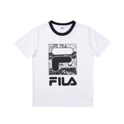 FILA KIDS 童吸濕排汗上衣-白色 1TEV-4509-