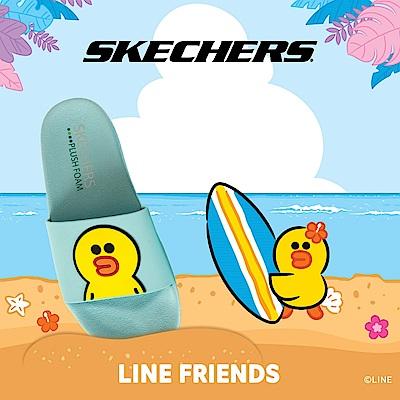 SKECHERS 女休閒系列 涼拖 2ND TAKE LINE FRIENDS 莎莉限定款 - 31644AQUA