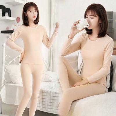 【韓國K.W.】(現貨)日式簡約圓領絨內裏內衣家居套裝-3色