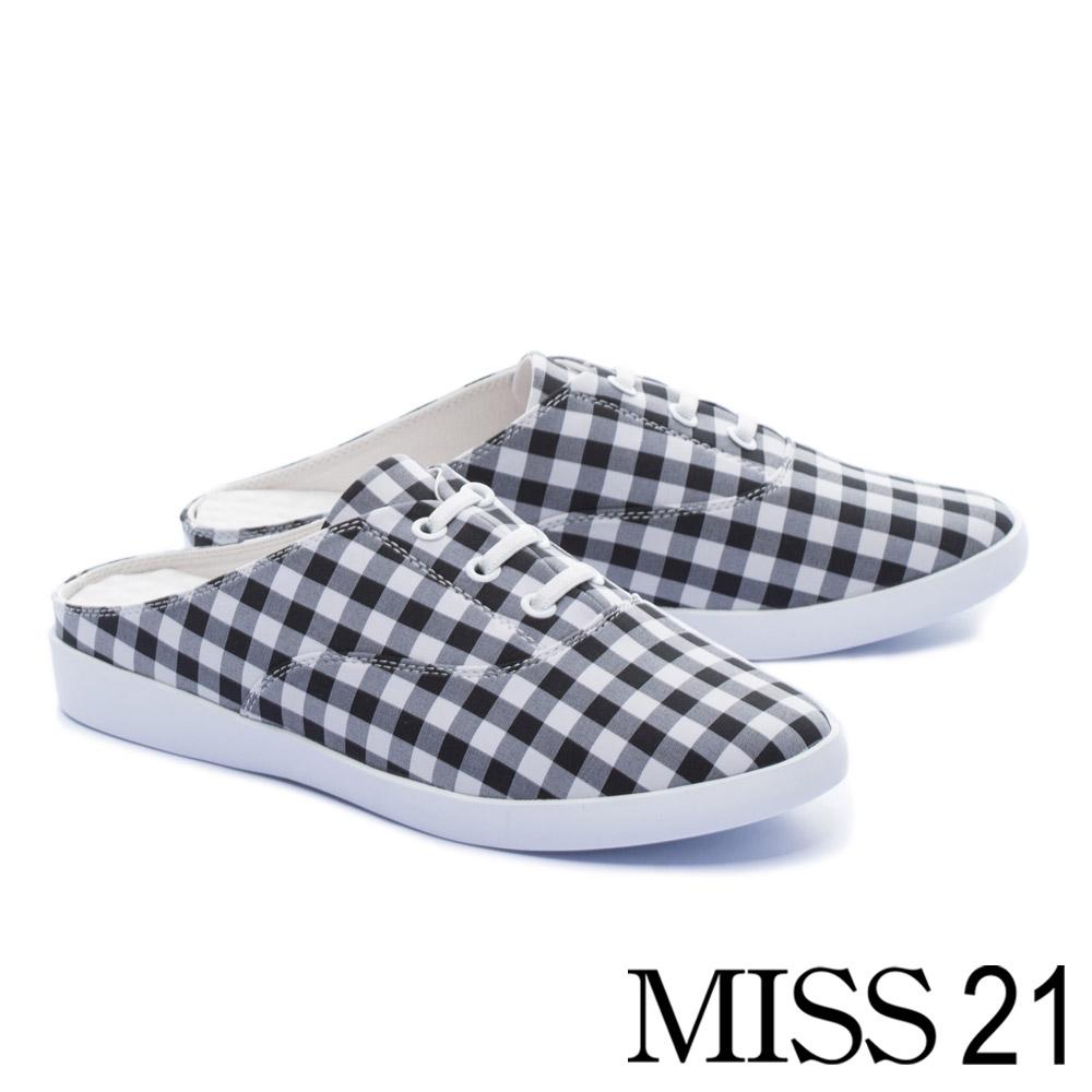 休閒鞋 MISS 21 復古小清新黑白格子布厚底休閒拖鞋-格紋