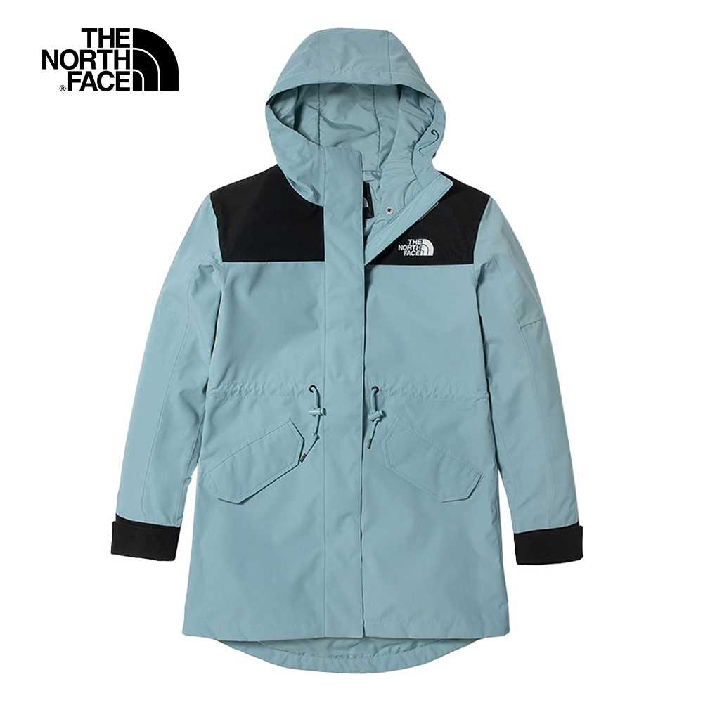 The North Face北面女款藍色防水透氣連帽衝鋒衣 4U9OBDT