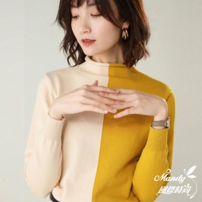 Mandy國際時尚 長袖上衣 時尚拼色高領長袖針織上衣(4色) 【韓國服飾】