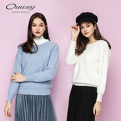 OUWEY歐薇 優雅手縫珠鑽針織上衣(白/藍)
