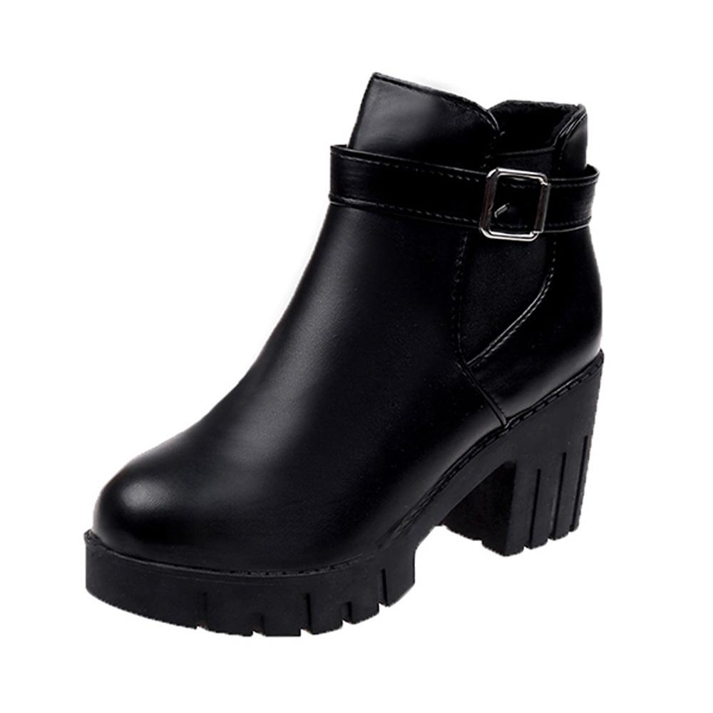 KEITH-WILL時尚鞋館 質感皮面小百粗跟靴-黑色