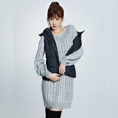 Victoria 前後可穿拋袖長版長袖線衫-女-淺灰