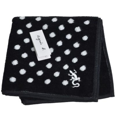 agnes b刺繡LOGO圖騰品牌風格小方巾(黑系)