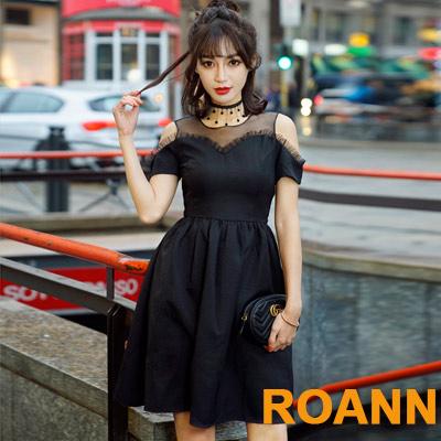 透視網紗圓領露肩短袖洋裝 (共二色)-ROANN
