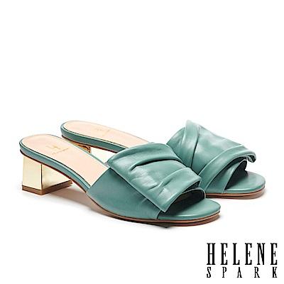 拖鞋 HELENE SPARK 時尚抓皺感全真皮金屬粗方跟拖鞋-綠