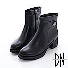 DN 簡約時尚 純色真皮毛裡拉鍊厚底踝靴-黑