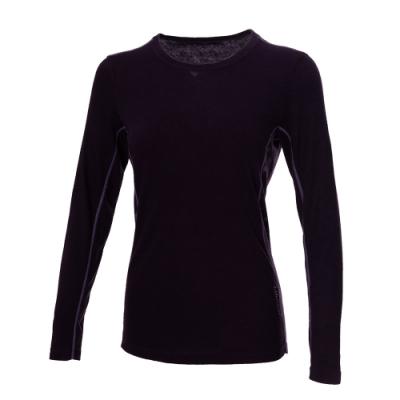 【WILDLAND荒野】女彈性圓領拼接印花保暖衣79深紫色