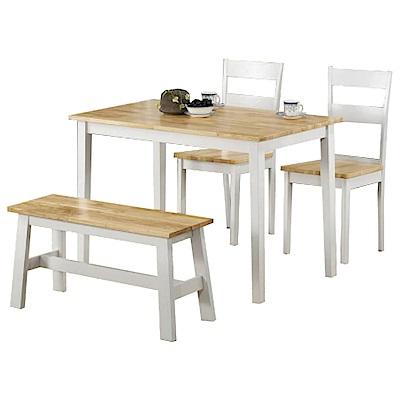 AS-Eden原木白色3.8尺餐桌椅組-114x68x74cm(一桌二椅一凳)