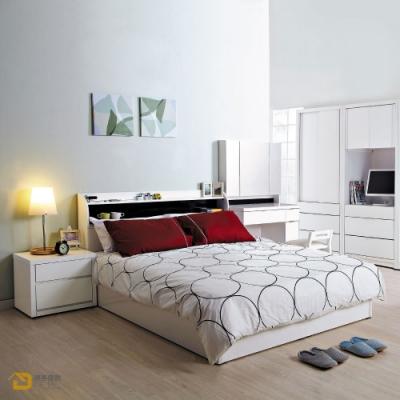 D&T德泰傢俱 Vance象牙白5尺雙人床組 寬152x長208x高94公分
