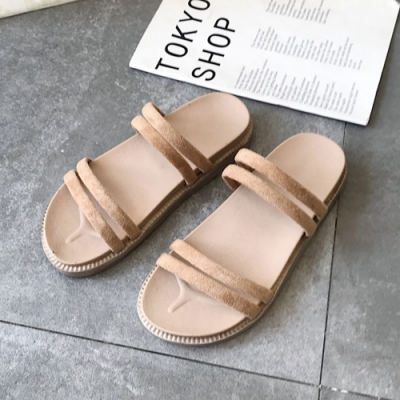 KEITH-WILL時尚鞋館 獨家款激亮線條休閒涼鞋 卡其
