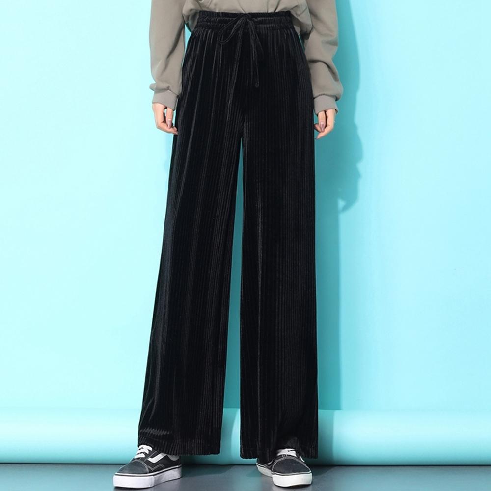 時尚純色鬆緊腰垂墜感燈心絨闊腿褲S-2XL(共三色)-WHATDAY (黑色)