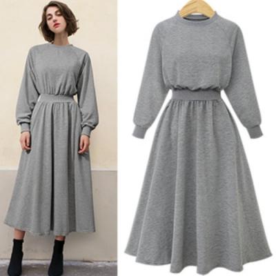 MOCO圓領素面鬆緊縮腰燈籠袖衛衣棉料大擺裙長版洋裝L~5XL