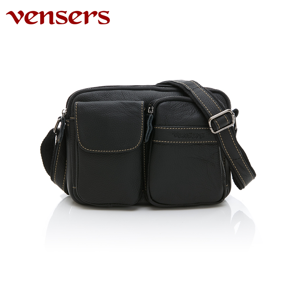 vensers 小牛皮潮流個性包~斜肩背包(N301802黑色)
