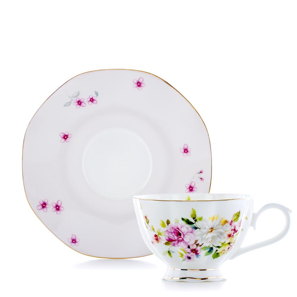 Royal Duke 骨瓷咖啡杯碟組-繽紛花緣(二杯二碟)