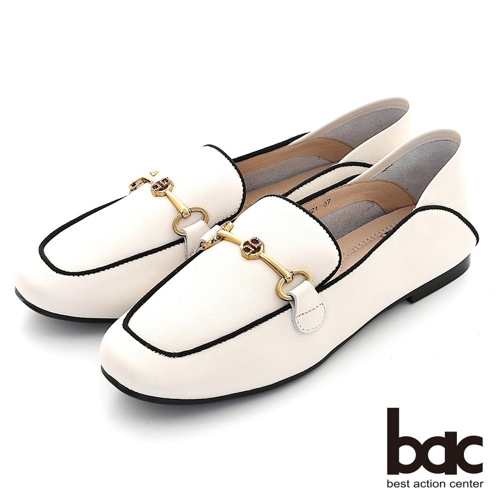 【bac】兩穿式黑邊勾勒線條樂福鞋-白色