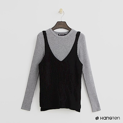Hang Ten - 女裝 - 兩件式針織上衣-黑色
