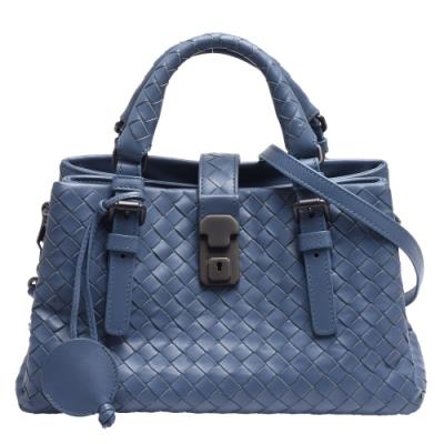 BOTTEGA VENETA 經典編織三層小牛皮菱格紋金屬壓釦手提/肩背包(灰藍色)