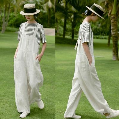 14支法國色織雨露麻背帶寬管褲-設計所在