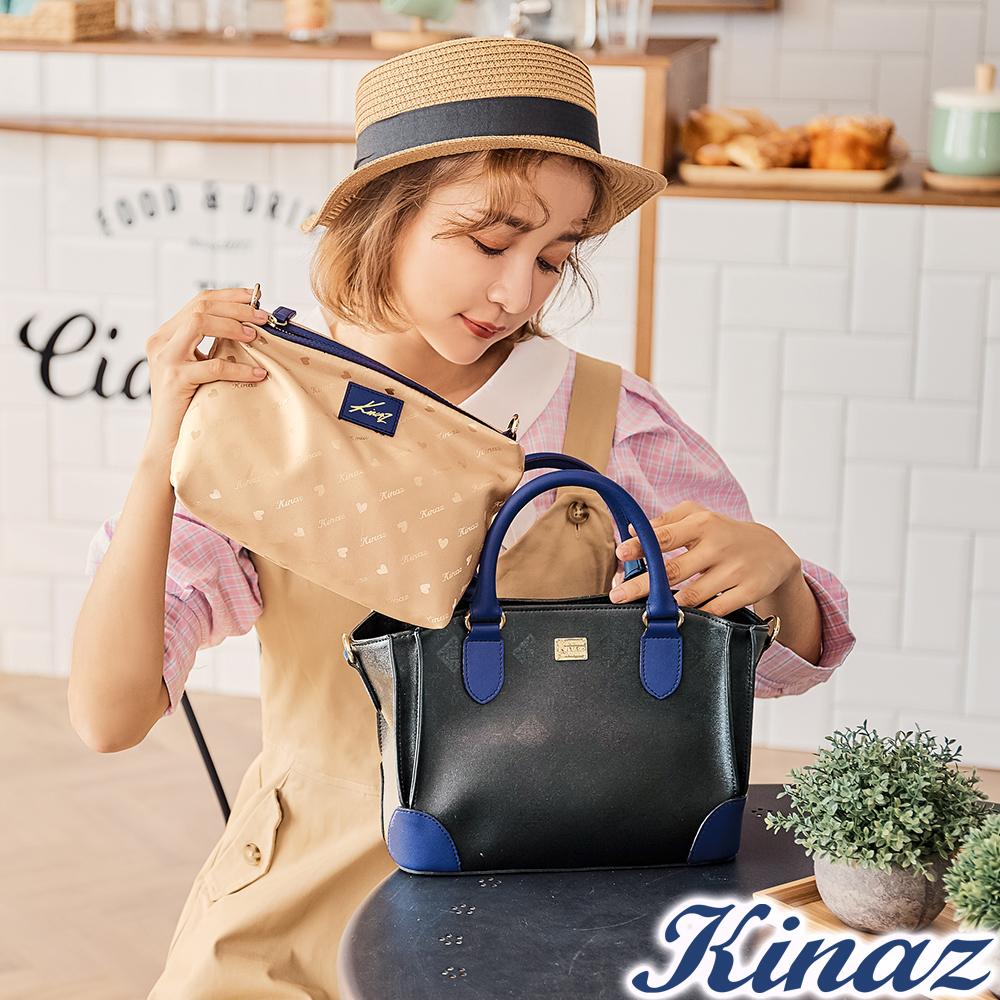 KINAZ 迷人風采兩用斜背包-煙燻深藍-模特兒系列