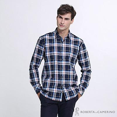 ROBERTA諾貝達 台灣製 帥氣休閒 撞色格紋長袖襯衫  紅藍