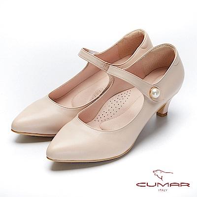 CUMAR文藝羅浮宮-經典復古單顆珍珠瑪莉珍高跟鞋-粉杏