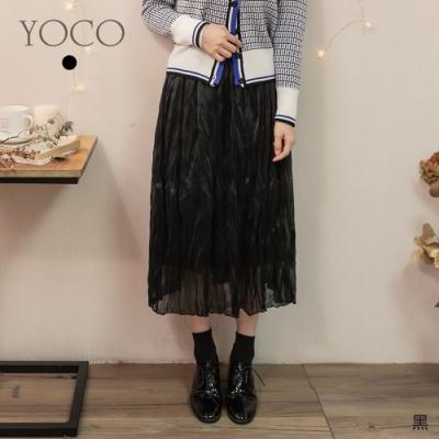 東京著衣-YOCO 低調奢華微金蔥腰鬆緊飄逸長裙