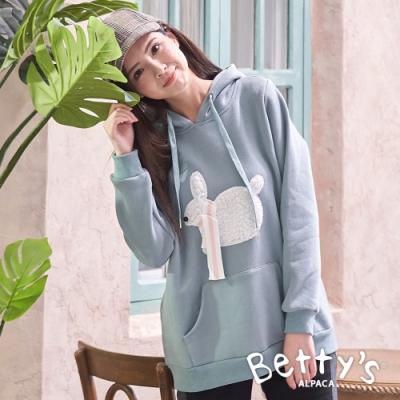 betty's貝蒂思 可愛兔子連帽內刷毛T-shirt(淺綠色)